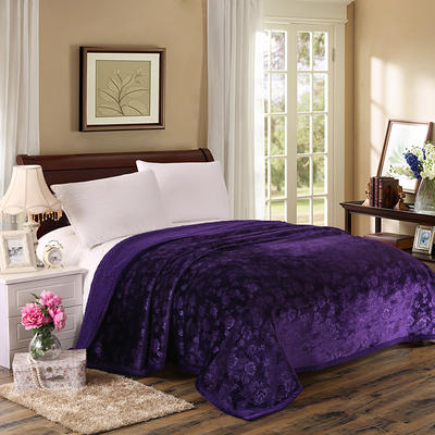 3D压花羊羔绒毛毯 150*200 紫色