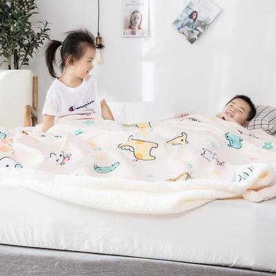 2019新款儿童羊羔绒毛毯毯子 110*150 动物世界