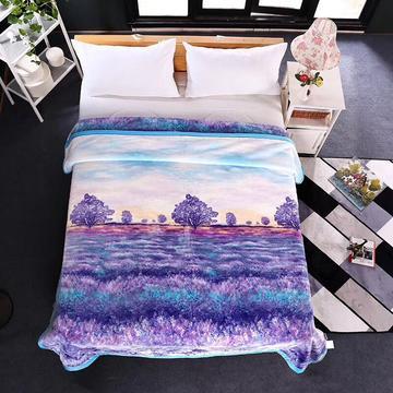 婚庆毛毯  加厚印花云毯-思柔兔绒毯 200cmx230cm 普罗旺斯