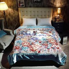 婚庆毛毯  加厚印花云毯-思柔兔绒毯 200cmx230cm 醉清香