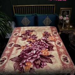 婚庆毛毯 舒适保暖拉舍尔云毯 200cmx230cm 1346红驼