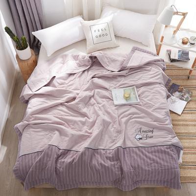 2020新款全棉水洗棉花夏被 200X230cm 棉花被香芋紫