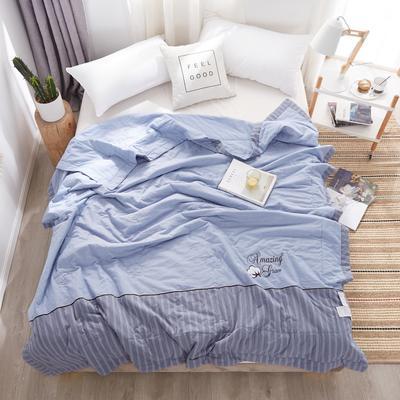 2020新款全棉水洗棉花夏被 200X230cm 棉花被优雅蓝