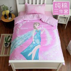 (总)萝莉家纺卡通全棉三件套纯棉斜纹印花儿童学生宿舍0.9/1.2米/1.35m床上用品被套床单枕套 1.35m(4.5英尺)床 冰雪奇缘
