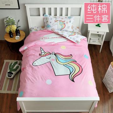 (总)萝莉家纺卡通全棉三件套纯棉斜纹印花儿童学生宿舍0.9/1.2米/1.35m床上用品被套床单枕套