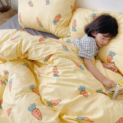 (总)2020卡通ins全棉四件套双人斜纹印花纯棉三件套小清新被套床单式床笠款单人学生宿舍床上用品 1.0m(3.3英尺)床 小萝卜