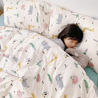 (总)2020卡通ins全棉四件套双人斜纹印花纯棉三件套小清新被套床单式床笠款单人学生宿舍床上用品 1.0m(3.3英尺)床 动物森林