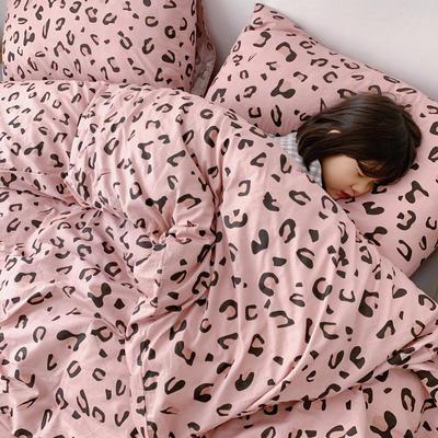 (总)2020卡通ins全棉四件套双人斜纹印花纯棉三件套小清新被套床单式床笠款单人学生宿舍床上用品 1.0m(3.3英尺)床 粉豹纹