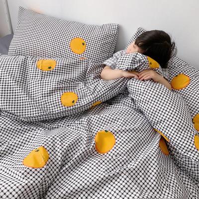 (总)2020卡通ins全棉四件套双人斜纹印花纯棉三件套小清新被套床单式床笠款单人学生宿舍床上用品 1.0m(3.3英尺)床 格子橙