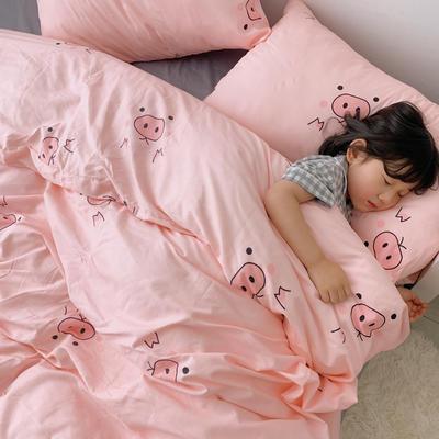 (总)2020卡通ins全棉四件套双人斜纹印花纯棉三件套小清新被套床单式床笠款单人学生宿舍床上用品 1.0m(3.3英尺)床 粉红猪猪
