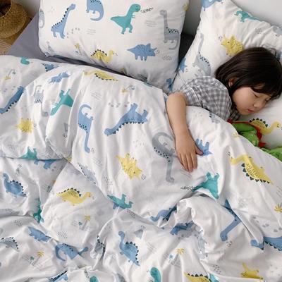 (总)2020卡通ins全棉四件套双人斜纹印花纯棉三件套小清新被套床单式床笠款单人学生宿舍床上用品 1.0m(3.3英尺)床 恐龙王国