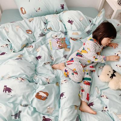 (总)2020卡通ins全棉四件套双人斜纹印花纯棉三件套小清新被套床单式床笠款单人学生宿舍床上用品 1.0m(3.3英尺)床 喵星人