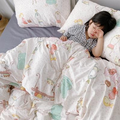 (总)2020卡通ins全棉四件套双人斜纹印花纯棉三件套小清新被套床单式床笠款单人学生宿舍床上用品 1.0m(3.3英尺)床 少女物语