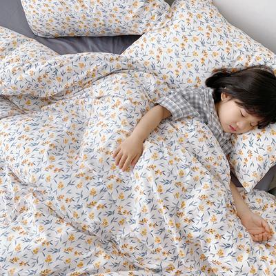 (总)2020卡通ins全棉四件套双人斜纹印花纯棉三件套小清新被套床单式床笠款单人学生宿舍床上用品 1.0m(3.3英尺)床 小枇杷