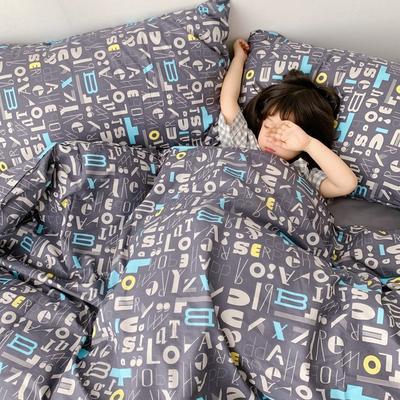(总)2020卡通ins全棉四件套双人斜纹印花纯棉三件套小清新被套床单式床笠款单人学生宿舍床上用品 1.0m(3.3英尺)床 逻辑字母