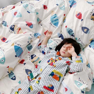 (总)2020卡通ins全棉四件套双人斜纹印花纯棉三件套小清新被套床单式床笠款单人学生宿舍床上用品 1.0m(3.3英尺)床 鱼趣