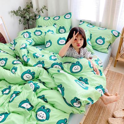 (总)2020卡通ins全棉四件套双人斜纹印花纯棉三件套小清新被套床单式床笠款单人学生宿舍床上用品 1.0m(3.3英尺)床 旅行青蛙
