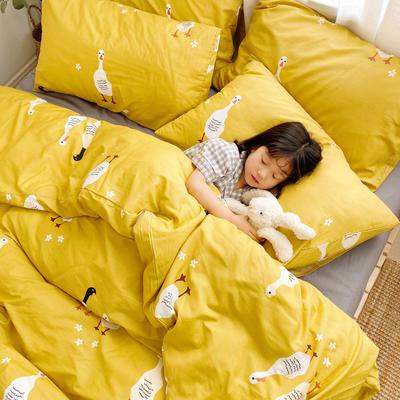 (总)2020卡通ins全棉四件套双人斜纹印花纯棉三件套小清新被套床单式床笠款单人学生宿舍床上用品 1.0m(3.3英尺)床 萌小鸭
