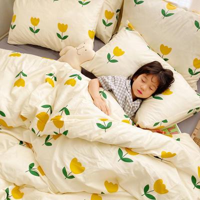 (总)2020卡通ins全棉四件套双人斜纹印花纯棉三件套小清新被套床单式床笠款单人学生宿舍床上用品 1.0m(3.3英尺)床 小花朵