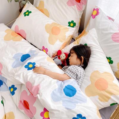 (总)2020卡通ins全棉四件套双人斜纹印花纯棉三件套小清新被套床单式床笠款单人学生宿舍床上用品 1.0m(3.3英尺)床 彩色花朵