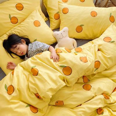 (总)2020卡通ins全棉四件套双人斜纹印花纯棉三件套小清新被套床单式床笠款单人学生宿舍床上用品 1.0m(3.3英尺)床 甜橙