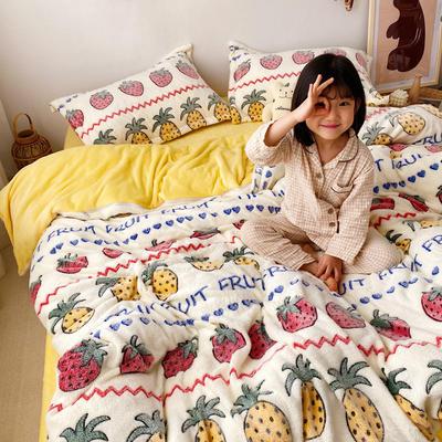 (总)2019雪花绒四件套珊瑚绒三件套法莱绒被套水晶绒床单牛奶绒床笠法兰绒短毛绒毛毯子双面绒 1.5m(5英尺)床 水果派对