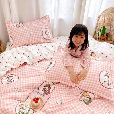 2020新款小清新卡通纯棉四件套 1.2m(4英尺)床单款三件套 快乐女孩粉