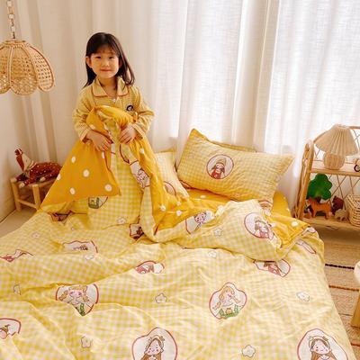 2020新款小清新卡通純棉四件套 1.2m(4英尺)床單款三件套 快樂女孩黃