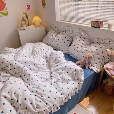 2020爱心牛奶绒四件套荷叶花边法莱绒三件套珊瑚绒宝宝法兰绒水晶雪花绒被套床单款床笠抖音快手网红直播 1.2m(4英尺)床 爱心宝蓝