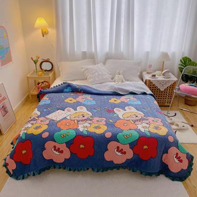 2020超柔夹棉牛奶绒荷叶花边床盖 200cmx230cm 花花世界