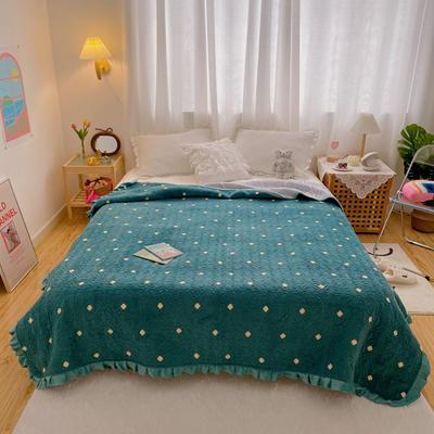 2020超柔夹棉牛奶绒荷叶花边床盖 200cmx230cm 四叶绿