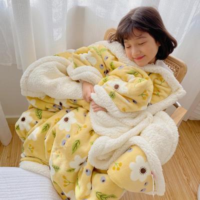 2020新款多功能羊羔绒被套毯 150x200cm带隐型拉链 洛克黄