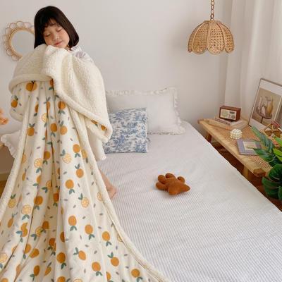 2020新款多功能羊羔绒被套毯 150x200cm带隐型拉链 小橘子