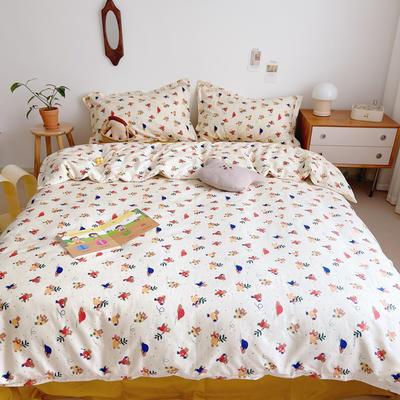 2021新款小清新全棉四件套网红款公主风田园小碎花纯棉三件套学生宿舍被套床单床笠被罩床罩 1.5m床单款四件套 奥运熊