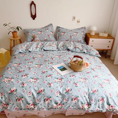 2021新款小清新全棉四件套网红款公主风田园小碎花纯棉三件套学生宿舍被套床单床笠被罩床罩 1.5m床单款四件套 朵朵凝香蓝