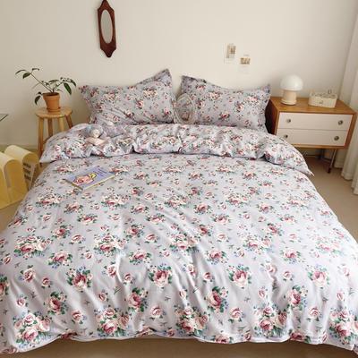 2021新款小清新全棉四件套网红款公主风田园小碎花纯棉三件套学生宿舍被套床单床笠被罩床罩 1.5m床单款四件套 朵朵凝香紫