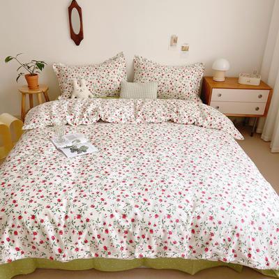 2021新款小清新全棉四件套网红款公主风田园小碎花纯棉三件套学生宿舍被套床单床笠被罩床罩 1.5m床单款四件套 法尔曼