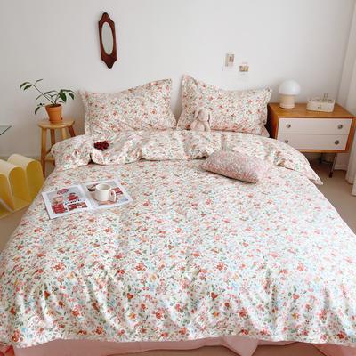 2021新款小清新全棉四件套网红款公主风田园小碎花纯棉三件套学生宿舍被套床单床笠被罩床罩 1.5m床单款四件套 粉小花