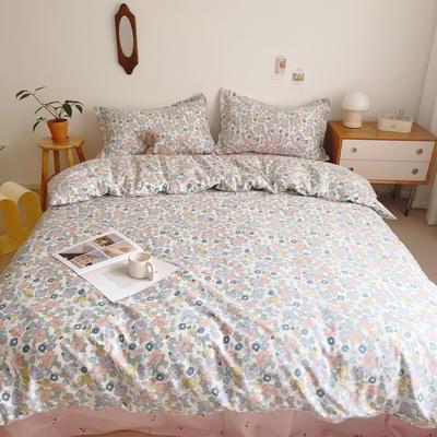 2021新款小清新全棉四件套网红款公主风田园小碎花纯棉三件套学生宿舍被套床单床笠被罩床罩 1.5m床单款四件套 花的季节米