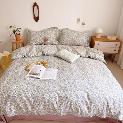 2021新款小清新全棉四件套网红款公主风田园小碎花纯棉三件套学生宿舍被套床单床笠被罩床罩 1.5m床单款四件套 花间集