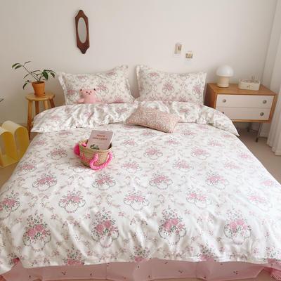 2021新款小清新全棉四件套网红款公主风田园小碎花纯棉三件套学生宿舍被套床单床笠被罩床罩 1.5m床单款四件套 花摇