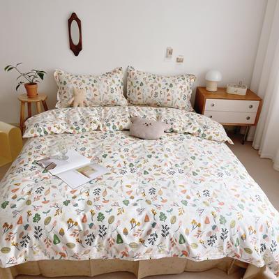 2021新款小清新全棉四件套网红款公主风田园小碎花纯棉三件套学生宿舍被套床单床笠被罩床罩 1.5m床单款四件套 梨泰院
