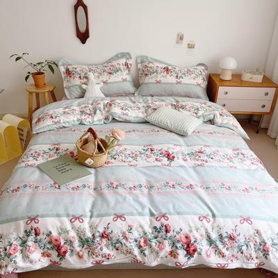 2021新款小清新全棉四件套网红款公主风田园小碎花纯棉三件套学生宿舍被套床单床笠被罩床罩 1.5m床单款四件套 满庭芳蓝