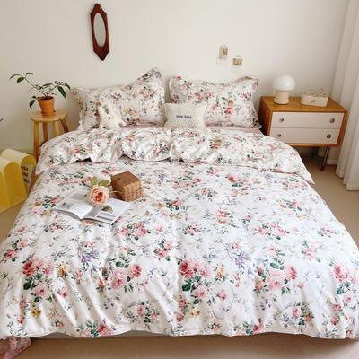 2021新款小清新全棉四件套网红款公主风田园小碎花纯棉三件套学生宿舍被套床单床笠被罩床罩 1.5m床单款四件套 墨染