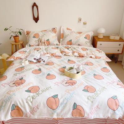 2021新款小清新全棉四件套网红款公主风田园小碎花纯棉三件套学生宿舍被套床单床笠被罩床罩 1.5m床单款四件套 水蜜桃