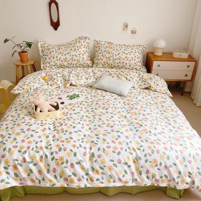 2021新款小清新全棉四件套网红款公主风田园小碎花纯棉三件套学生宿舍被套床单床笠被罩床罩 1.5m床单款四件套 夏果