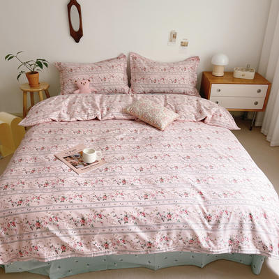 2021新款小清新全棉四件套网红款公主风田园小碎花纯棉三件套学生宿舍被套床单床笠被罩床罩 1.5m床单款四件套 橡皮花粉