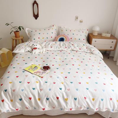 2021新款小清新全棉四件套网红款公主风田园小碎花纯棉三件套学生宿舍被套床单床笠被罩床罩 1.5m床单款四件套 小爱心