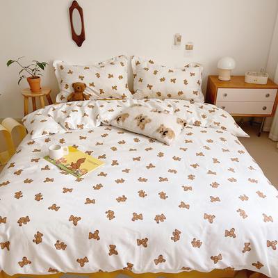 2021新款小清新全棉四件套网红款公主风田园小碎花纯棉三件套学生宿舍被套床单床笠被罩床罩 1.5m床单款四件套 小布熊