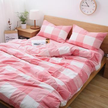 纯棉水洗棉四件套系列 床单款1.5m床 粉大格